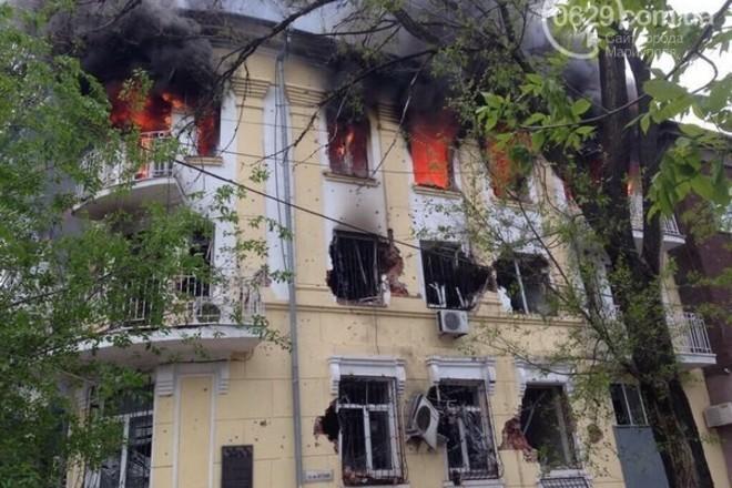 Milicijos pastatas Mariupolyje po mūšio su teroristais
